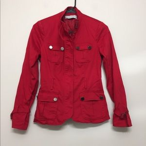Zara Basics red zip jacket with buttons XS